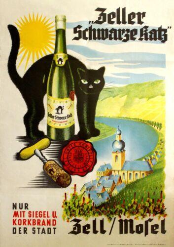 Vintage Zeller Schwarze Katz Black Cat Wine Poster