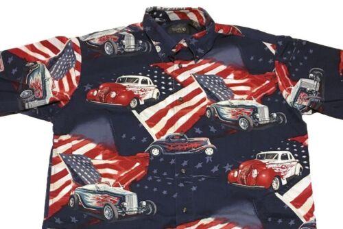 manga parte botones para de Classic Cars Flags con Camisa la delantera corta en L hombre casual Redhead Us nOg0wqH4H