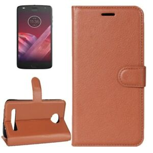 Cartera-De-Bolsillo-Premium-Marron-para-Motorola-Moto-Z2-Jugar