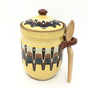 Vintage-Bulgarian-Clay-Preserve-Jam-Pot-Sugar-Jar-Lidded-with-Wooden-Spoon-Retro