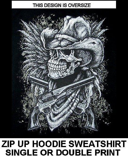 COWBOY SKULL CROSS HAND GUN PISTOL WESTERN HAT COUNTRY ZIP HOODIE SWEATSHIRT 503