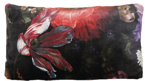 "Italian Velvet Cushion Cover Printed Roses Hydrangea Butterfly Peony 18/"" 20/"" 24/"""
