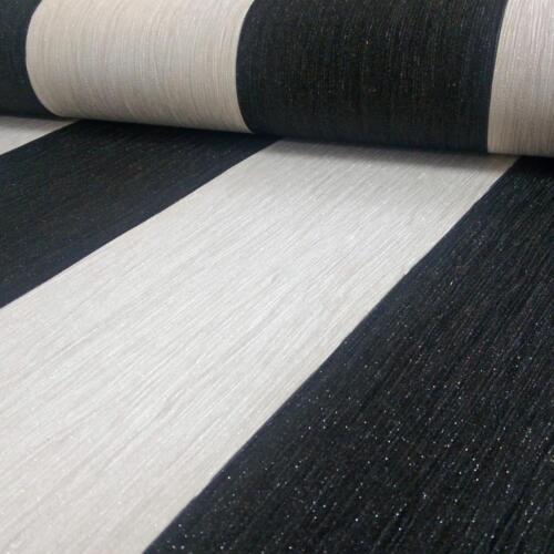 Glitter Wallpaper Crystal Shimmer Sparkle Striped Stripy Vinyl Ivory Black New