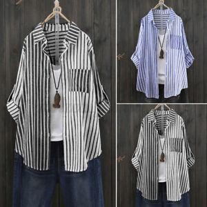 Chemise-Femme-Manche-Longue-Boutons-Manteau-Haut-a-rayures-Couture-Shirt-Plus
