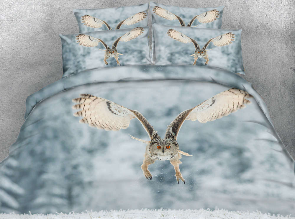 Flying rot Eye Owl 3D Printing Duvet Quilt Doona Covers Pillow Case Bedding Sets
