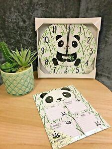 C Clock and Magnetic Memo Pad Sitting Panda Green Mix NEW