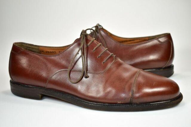 827d5192a89 Salvatore Ferragamo Studio Brown Leather Cap Toe Oxford Dress Shoes 9.5 E  Cognac