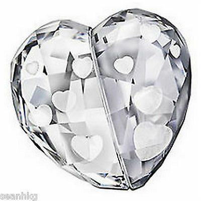 Swarovski 3D Love Heart Medium Clear Silver Shade Crystal Figurine - 1096729