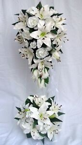 WEDDING BOUQUET SET, WHITE LILY & ROSES,X 6 ITEMS | eBay