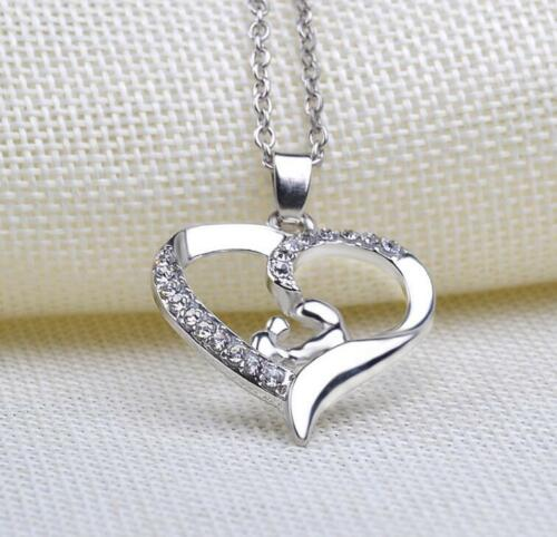 Silver MUM Necklace Love Heart Crystal Xmas Gift For Her Mother Daughter Gift