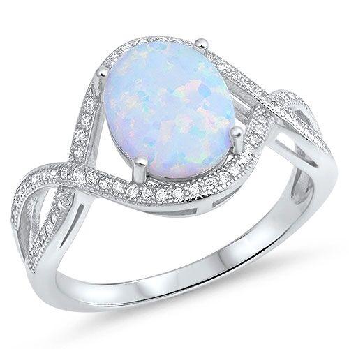 Ovale Blu o Bianco Opale Micro Pavé Pavé Pavé Infinity Anello Scritta Love - argentoo 0df129