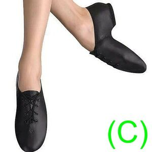 JAZZ-DANCE-SHOES-Black-Leather-split-sole-UNISEX-pumps-irish-hard-jig-CC