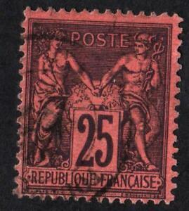 TYPE-SAGE-N-91-a-rouge-fonce-OBLITERE-ET-SANS-DEFAUTS-CV-35-PROMOTION