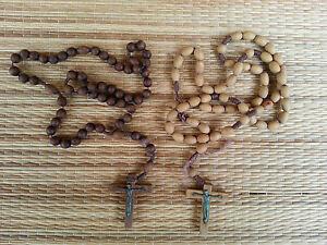 2 antichi rosario in legno, religion cristiana french antico religiosa