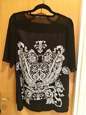 Zara Black White Handkerchief Panelled Loose Fit Top TShirt Size S Small