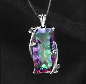 Mystic-Topaz-Rainbow-Pendant-Jewelry-925-Silver-Choker-Chain-Necklace-Party