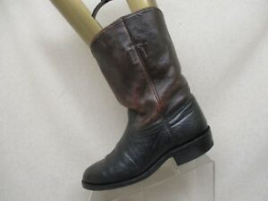 Brown-Black-Bullhide-Leather-Roper-Cowboy-Boots-Mens-Size-7-5-Style-382