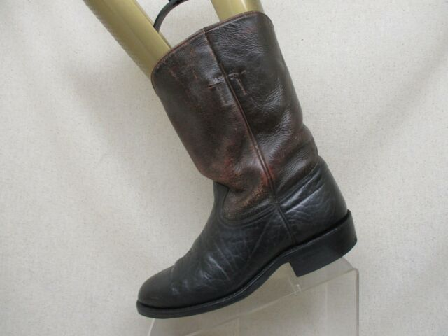 Brown Black Bullhide Leather Roper Cowboy Boots Mens Size 7.5 Style 382