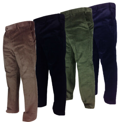 Carabou Mens Thick Cord Trousers 100/% Cotton Traditional Ribbed Corduroy Pants