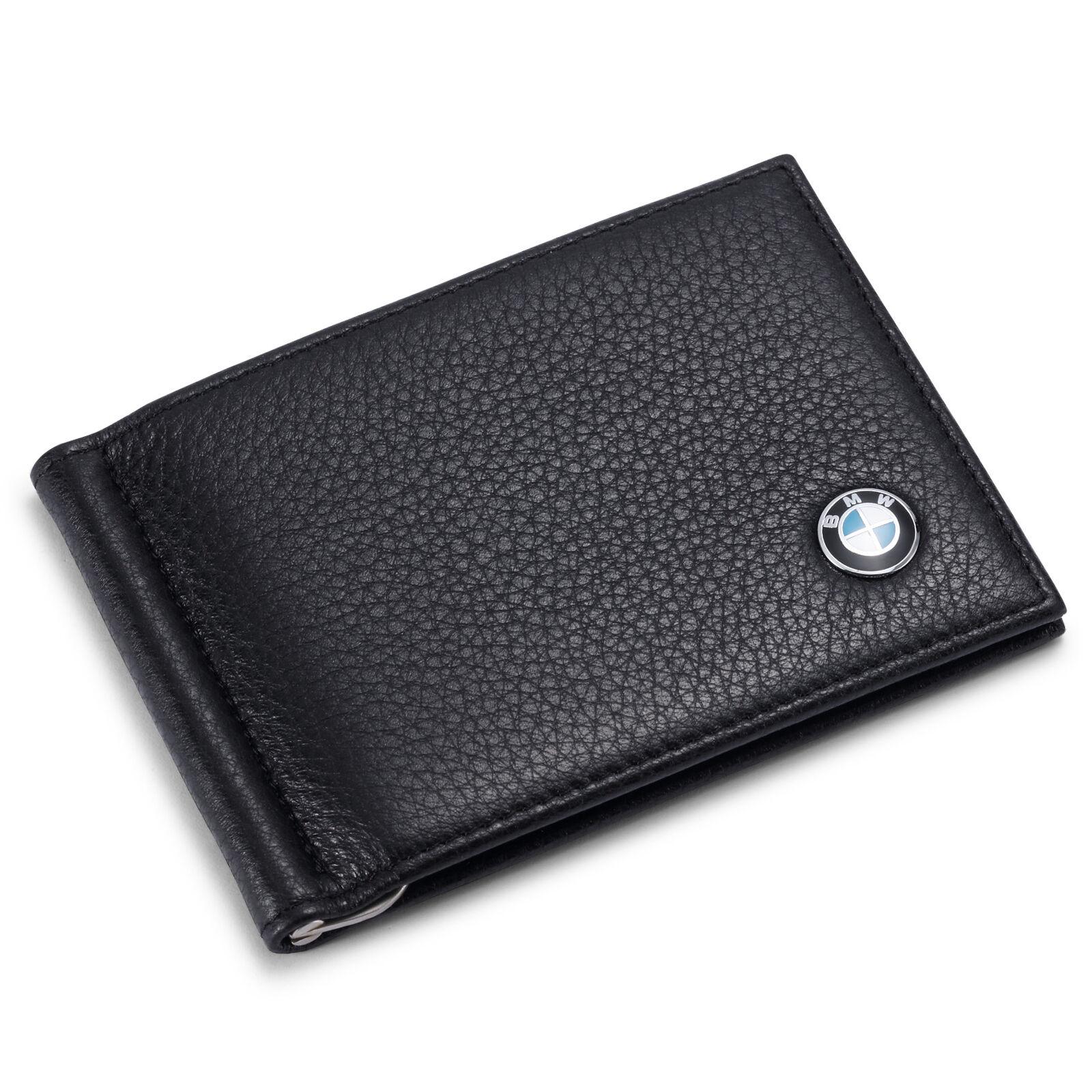 ecd5e056 new BMW Men Money Clip Wallet Black Genuine Leather 6 Credit Card Holder ID  Case