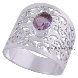 Solid-925-Sterling-Silver-Amethyst-Gemstone-Anniversary-Ring-Jewelry-R1527-8