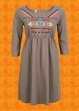 G716✪ Indian Spirit Hippie Kleid dress Ethno Boho Stickereien braun bunt Gr 52