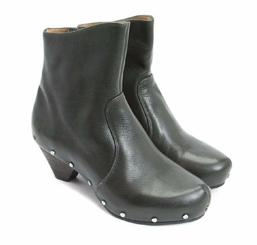 JOHN FLUEVOG SHOES RULES CLOG LOW PATTI BOOTS STUDDED CLOG RULES BOOTIES DARK GREEN 7 $399 a9c292