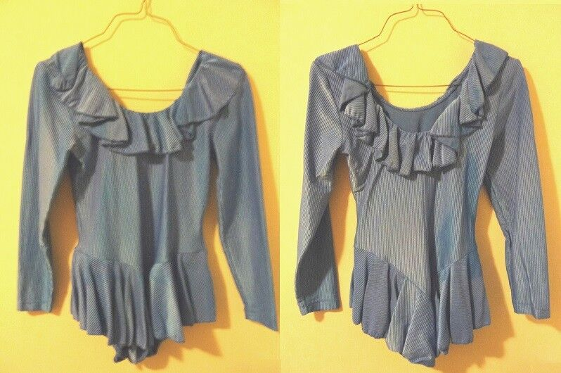 Ice Skating Dance Medieval Theater Dress Costume Ribbed bluee AL or Girls 16 18