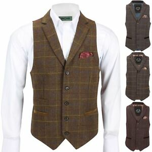 Mens-Tweed-Check-Waistcoat-Vintage-Herringbone-VelvetCollar-Lapel-Slim-Fit-Vest