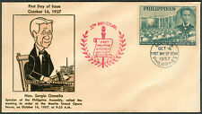 1957 Honoring Sergio Osmeña Speaker Of Philippine Assembly FIRST DAY COVER