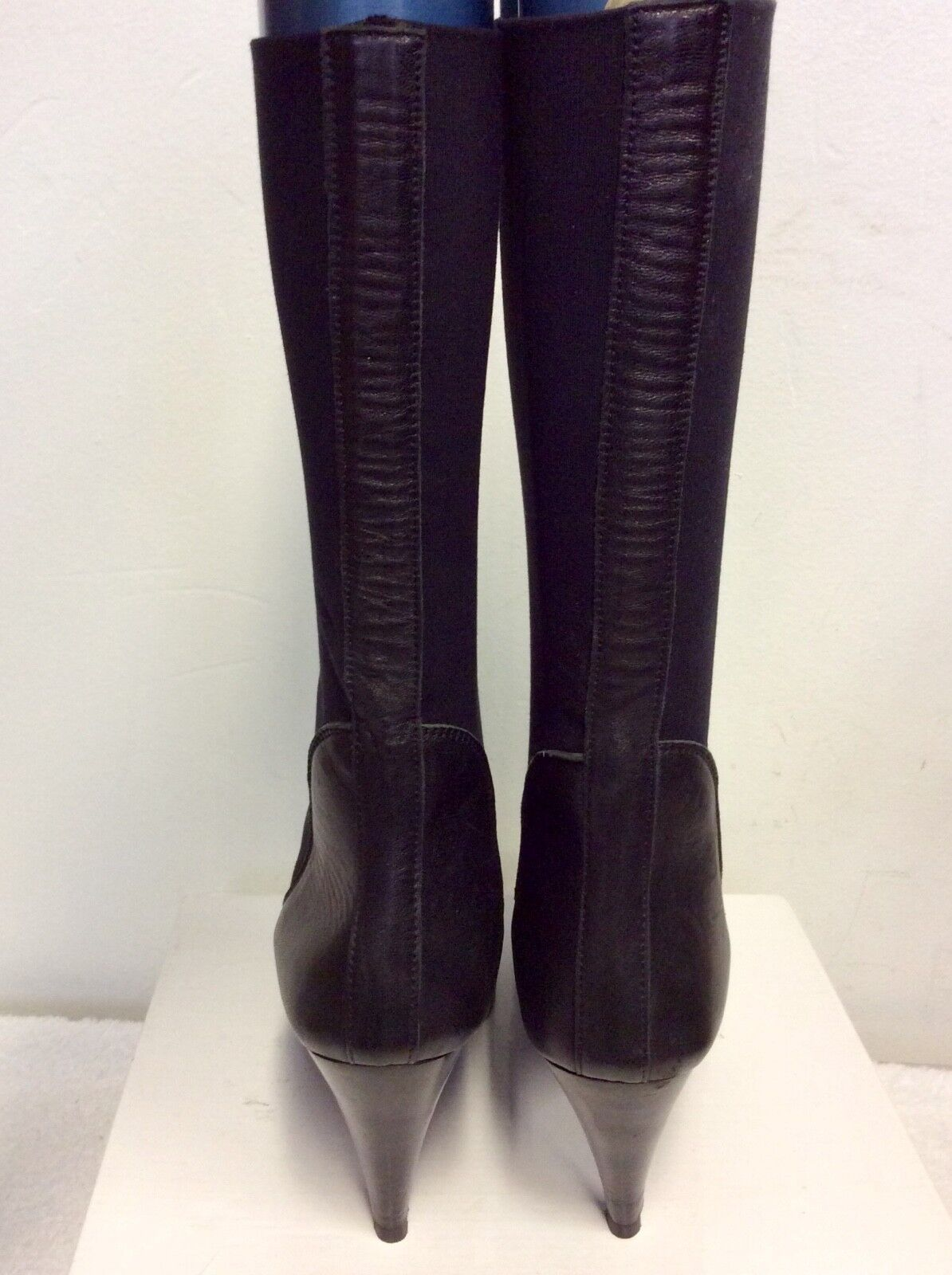 MARCCAIN LENGTH BLACK LEATHER & STRETCH FABRIC CALF LENGTH MARCCAIN  Stiefel SIZE 6/39 9041d6