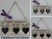 MY WEIGHT LOSS RECORD - Weight loss sign/plaque - wooden sign, chalkboard hearts