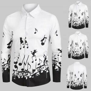 Mens-Vintage-Music-Note-Printed-Lapel-Shirts-Long-Sleeve-Slim-Shirt-Blouse-Tops
