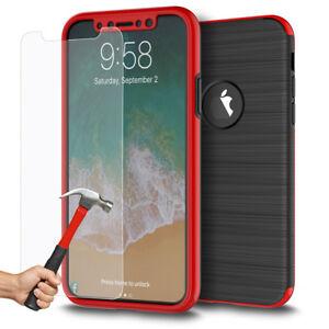Coque-Etui-Integrale-360-Protection-iPhone-6-6S-Plus-7-8-X-Film-Verre-trempe