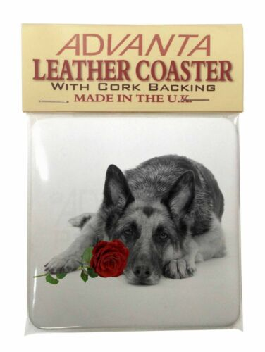 AD-GS1R2SC German Shepherd with Red Rose Single Leather Photo Coaster Animal Br