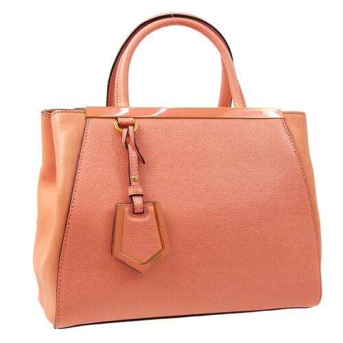 FENDI 2JOURS 2way Hand Tote Bag Salmon Pink Leathe