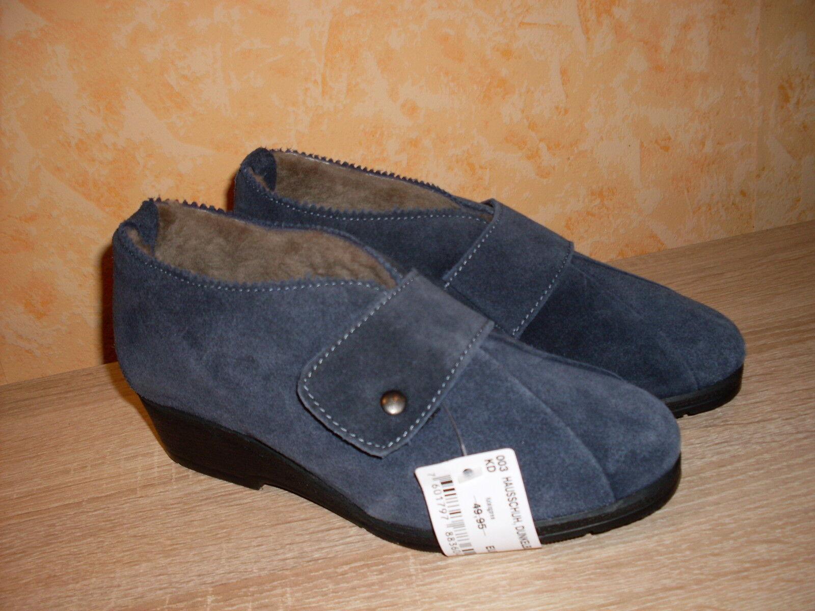 Casa zapato casa botas botas botas nuevo talla 36 en azul oscuro, gamuza cuero & cordero & velcro  buen precio