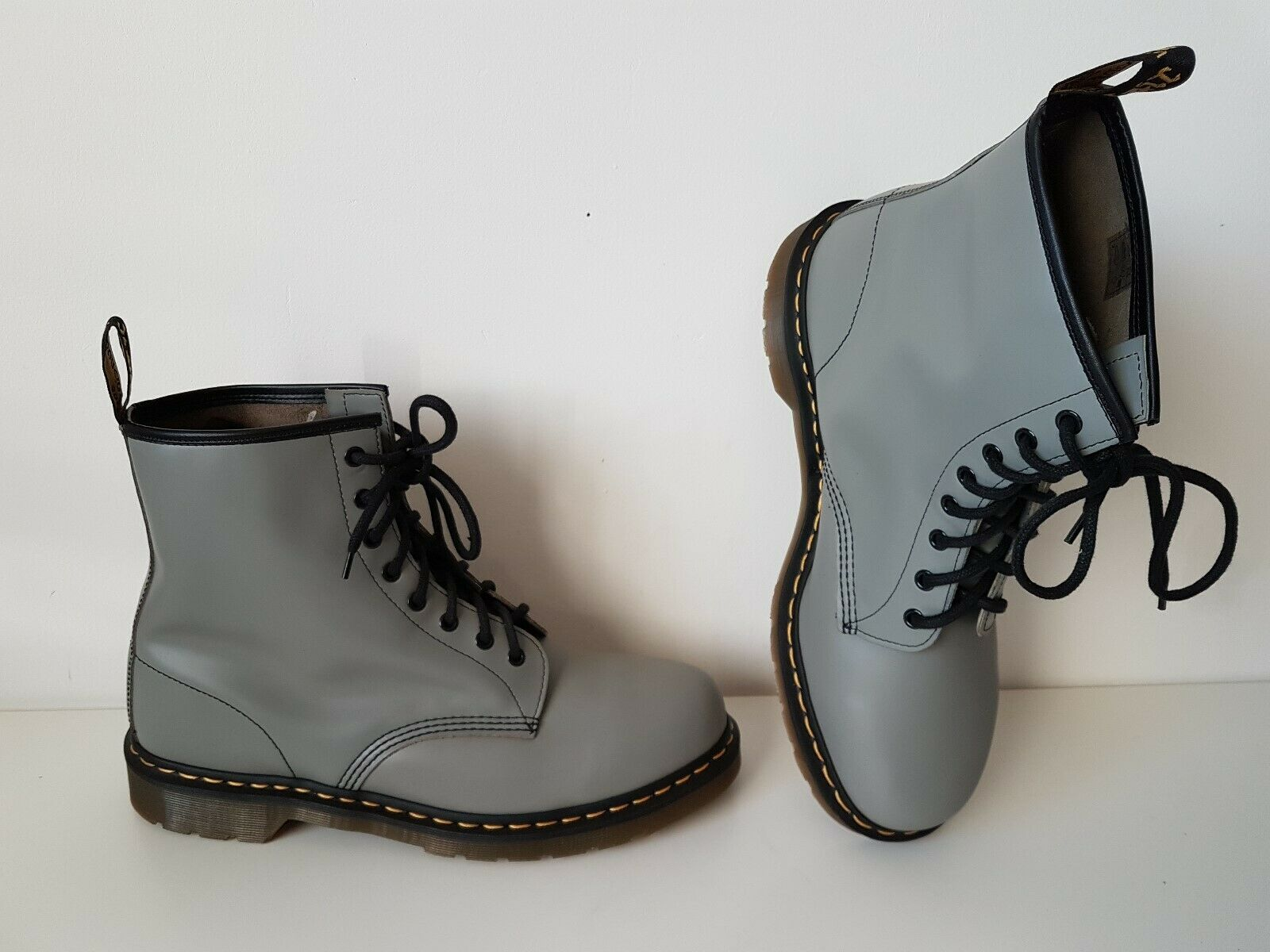 UK 13 EU 48 US 14 Dr. Martens 1460 grey Boots 8 eye leather