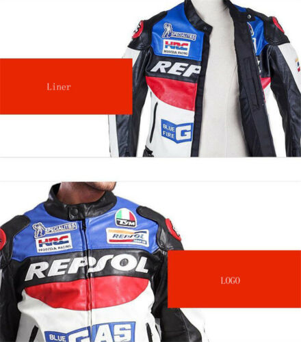 Men REPSOL Motorcycle Leather Racing Suits Armor Riding Protective Jacket Coat