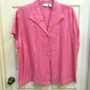 Kim-Rogers-Top-3X-Pink-Linen-Short-Sleeve-Shirt