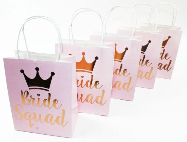 a0615e42052b Bride Squad Bridal Shower Hen Night Party Pink Gold Goodie Paper Favor Bags  x 3