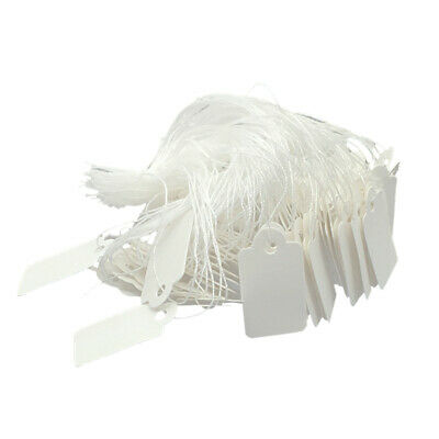1000 Pcs Rectangle Paper White Marking Tags Price Display Tags Labels with Hanging Strings for Gift Jewelry Clothing 24x14mm