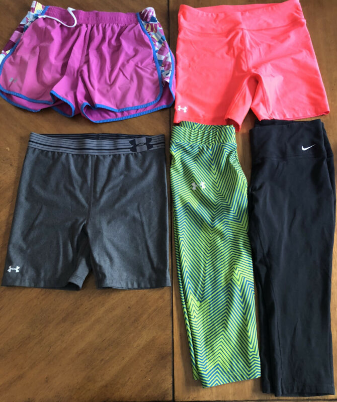Punctual Lot Of 5 Workout Yoga Biking Running Shorts Capris Underarmour Nike Size Medium Good For Antipyretic And Throat Soother
