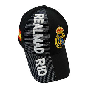 4832757f1378a REAL MADRID BLACK COUNTRY FLAG FIFA SOCCER WORLD CUP EMBOSSED HAT ...