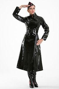 Details zu Lack Mantel mit hohem Kragen Gr S 3XL