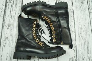 H\u0026M Moschino Men's Leather Combat Boots