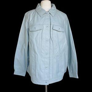 DENIM-CO-Women-s-Plus-Size-3X-Gray-Lamb-Leather-Button-Front-Jean-Jacket