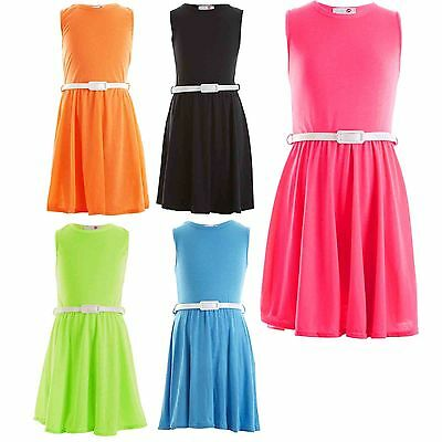 Girls Skater Dress Kids Neon Bright Holiday Party Dresses 7 8 9 10 11 12 13 Year | eBay