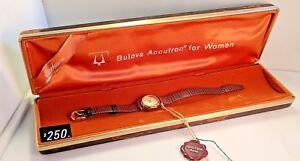 NEW-OLD-STOCK-Vintage-Bulova-Accutron-Swiss-Quartz-P1-Model-Women-039-s-Watch-w-Box