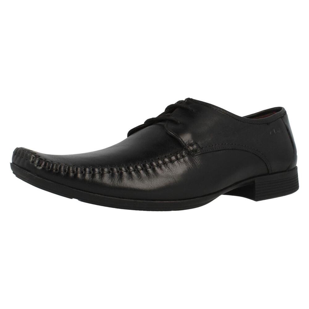 Clarks Ferro Marche Cuir Noir Chic Style Mocassin Chaussures à Lacets Largeur G